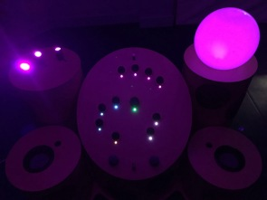Resonant tails purple light